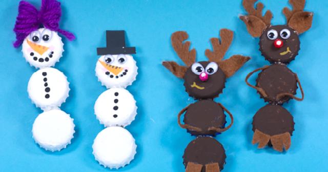Upcycling-Weihnachtsdeko: Lustige Schneemänner und Elche