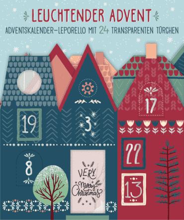 Leuchtender Advent. Bunter Adventskalender-Leporello mit 24 transparenten Türchen