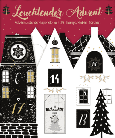 Leuchtender Advent. Edler Adventskalender-Leporello mit 24 transparenten Türchen