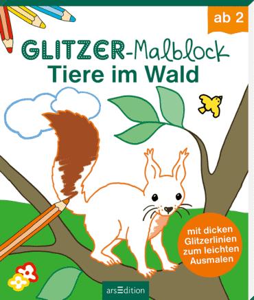 Glitzer-Malblock Tiere im Wald