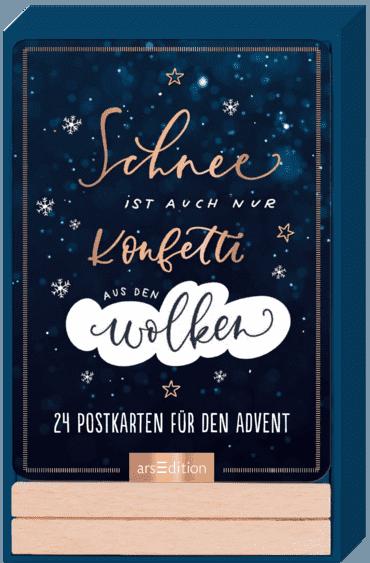 Adventskalender Schnee ist auch nur Konfetti aus den Wolken - 24 Sprüche-Postkarten in schönem Handlettering-Design mit Holzständer